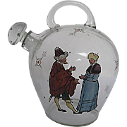 Vintage Hand-painted Man and Woman on Glass Jug w/glass handle and hand-painted designed stopper