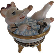 """Limoges Hand-painted """"This little Piggy is taking a Bath"""" trinket box  - made in France - signed"""