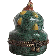 """Limoges -""""Partridge in a Pear Tree"""" Figurine Porcelain Trinket Box - hand-painted - artist signed - made in France"""