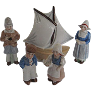Vintage German Miniature Bisque Porcelain Dutch Family and Sailboat figurines - marked Germany - each numbered - 1920's