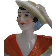 Porcelain Flapper Brown eye Half Doll w/Yellow Luster Hat - open arms - made in Germany