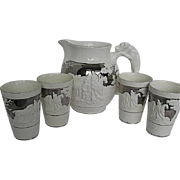 Wedgwood Set of 4 Silver Luster Tumblers & a Matching Large Pitcher - Dog Handle - Relief Design - Etruria & Barlaston - c5224 - signed - England - Early 1900's - Red Tag Sale Item