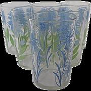 Set 6 Swanky Swig Blue Cornflower glasses - 1950's era