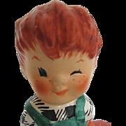 "Vintage Goebel Figurine Charlot Byj Redhead Boy Dog 1957 ""The Roving Eye"" - W. Germany - signed"