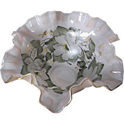 "1960's Hand-painted Fluted Bowl - Soft Pink w/gorgeous white magnolias and fauna design - gold trim - signed ""B"""