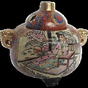 Vintage Asian Porcelain Moriage Incense burner - signed