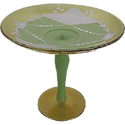 Vintage Glass Compote - Frosted Etched pattern - Hand-painted Green design & stem w/clear Yellow Glass Trim & base.