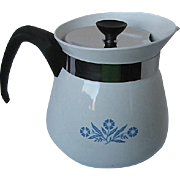 Vintage Corning Ware Blue Cornflower Pattern Coffee Pot/Tea Kettle - 2 qt. - 8 cup - signed