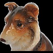 """Vintage Lefton Porcelain """"Collie"""" dog Figurine - signed"""