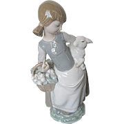 "Lladro ""Girl w/Lamb & Basket"" 4835 - Retired - Signed"