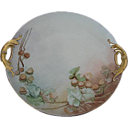 Vintage Hand-painted Acorn Serving Dish w/gold Handles - Austria - artist signed