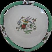 1920's Noritake Hand-painted Bird & Floral Pattern three sided open handled bowl - Gold trim - 1920 era Backstamp