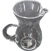 "Princess House Heritage Handblown Crystal Etched Pitcher with Ice Lip - 6.5"" T - 22 oz."
