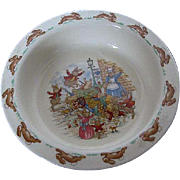 "Royal Doulton ""Bunnykins"" - ""Toppled Vegetable Cart"" cereal bowl - Made in England"