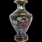 Vintage Chinese Cloisonne Hand-painted enameled Floral Vase