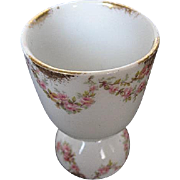 Theodore Haviland Limoges Double Egg Cup w/Pink Bridle Rose Design - late 1800's - early 1900's era - signed