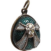 Sterling Silver and Enamel Russian Egg Pendant - Turquoise, Swarovski Crystal, w/gold plated designed band - signed - original box