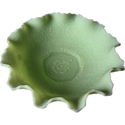 Fenton Lime Green Frosted Satin Fluted glass bowl/candy dish - 1970's era - signed