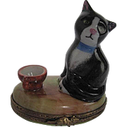 Limoges - hand-painted - Kitty sitting on an Earthtone Trinket box - made in France - LaGloriette