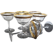 Gold Encrusted Rimmed Ribbed Cocktail/Martini stemmed Crystal Glasses w/Olive leaf Pattern - Set of 7 - 1960's era