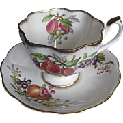 Vintage Queen Anne England Fruit Series Tea Cup and Saucer - 1900-1950 - signed