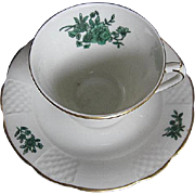 One Vista Alegre Green Rose w/Lattice Demitasse Cup and Saucer - VA Portugal