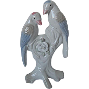 Porcelain Lovebirds perched on Branch w/applied Roses figurine - made in Japan