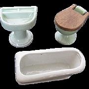 Vintage Green & White Porcelain Dollhouse Bathroom Set -  Japan