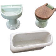 Vintage Green & White Porcelain Dollhouse Bathroom Set -  Japan