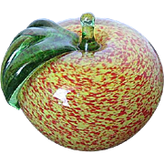 Vintage Splatter Glass Apple Sculpture Paperweight - etched signature by artist