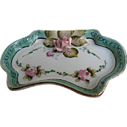 Meiko China - Hand-painted Trinket Dresser dish - with applied Porcelain Pink Rose - signed - Occupied Japan