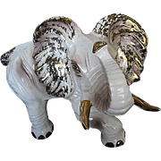 Large Porcelain Elephant - Gold, Off White and Brown - original tag - Made in Italy