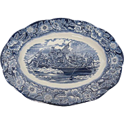 "Vintage Staffordshire of England ""Liberty Blue"" 14"" Platter - Washington crossing the Delaware"