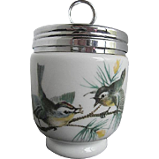 Royal Worcester Porcelain Egg Coddler w/bird design - made in England