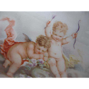 Antique Czech Hand-Painted Porcelain Cherub Dish - signed - late 1800's - early 1900's