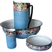 Antique Shelley of England 4pc. Porcelain Wash  Basin Set - RARE Hand-painted Fruit Pattern - Robin Egg Shell Blue - cira. 1916 - 1925