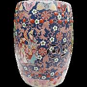 Vintage Asian Motif Ceramic Hand-painted Glazed Finish - Multi-colored Floral design - Cobalt blue Garden Stool