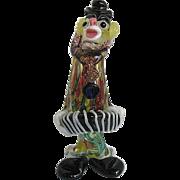 Murano Art Glass Clown Playing the Accordion w/Millefiori Body