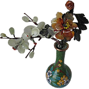 Semi-Precious Stone Flowers in small Copper Cloisonne vase - Carnelian, Serpentine, Jade, Agate