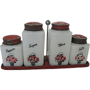 Vintage Tipp City Milk Glass Shaker Set of 4 w/Original red Tin Lids & Red Tin Carrier w/handle - 1940's era - Salt, Pepper, Sugar & Flour
