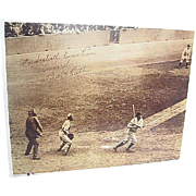 "Babe Ruth's 60th Home Run 1927 signed tinted framed Photo Copy - Print No. 5 - ""The 60th - Babe Connects"""