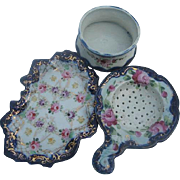 Vintage Porcelain Tea Cup, Strainer and tidbit Tray
