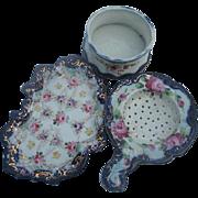 Vintage Porcelain Tea Cup, Strainer and tidbit Tray