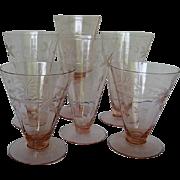 Five Pink Ribbed, Etched Depression Glasses - 1930's Era