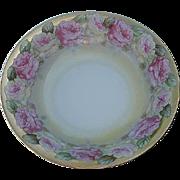 Vintage Austrian Pink Rose Serving Bowl - signed