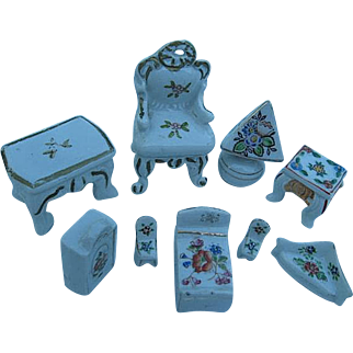 Vintage 9 pc. Hand-painted Lot of Porcelain Dollhouse Furniture - Japan