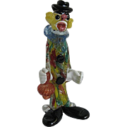 Murano Art Glass Clown Carrying Wine Bottle w/Millefiori Body - made in Italy