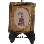 Miniature wood/tin framed painted picture of Victorian Style Lady
