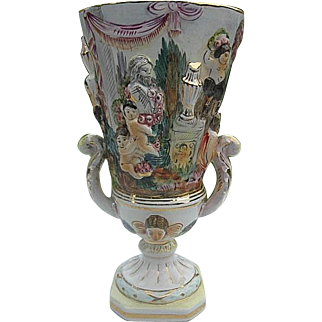 Capodimonte Cherub Relief Double handled Pedestal Vase - made in Italy - signed