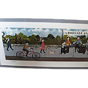 """The Lemonade Stand"" professionally framed print by Gallery One - artist Ann Rugh Baker (Mrs. Bee)"